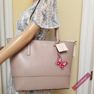 KATE SPADE ADLEY TAUPE MUTED TOTE BUTTERFLY